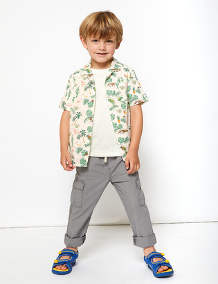 Marks and Spencer 2 Piece Pure Cotton Tropical Print Shirt (2-7 Yrs)