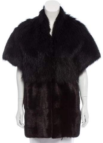Pologeorgis Mixed Fur Short Sleeve Coat