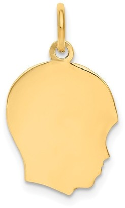 Curata 14k Yellow Gold Solid Polished Engravable Plain Med .013 Gauge Facing Right Boy Head Charm