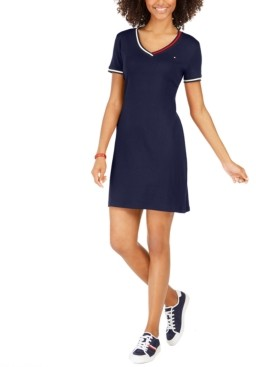 Tommy Hilfiger Cotton Striped-Trim T-Shirt Dress, Created for Macy's