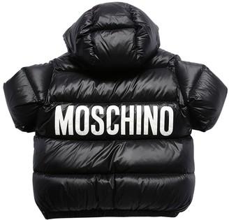 Moschino Logo Print Nylon Puffer Jacket
