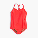 J.Crew Girls' scalloped one-piece swimsuit in neon