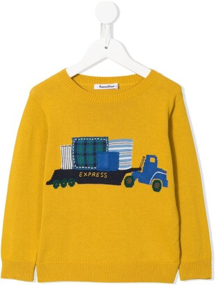 Familiar crew neck truck sweater