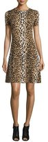 Carolina Herrera Short-Sleeve Leopard-Print Dress, Black/Camel