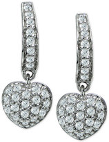 Giani Bernini Cubic Zirconia Pavé Heart Drop Earrings in Sterling Silver, Only at Macy's