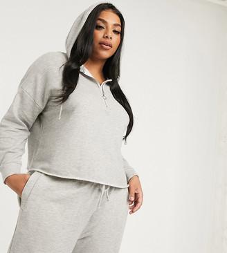 Asos DESIGN Curve lounge mix & match loopback raw edge hoodie-Grey