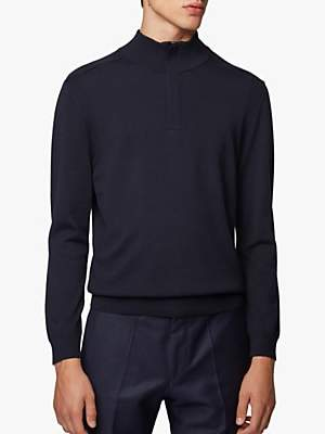 HUGO BOSS BOSS Bacelli 1/4 Zip Virgin Wool Blend Knit Jumper, Dark Blue