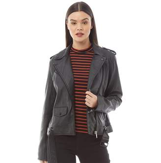 Barneys New York Womens Annabelle Leather Jacket Black