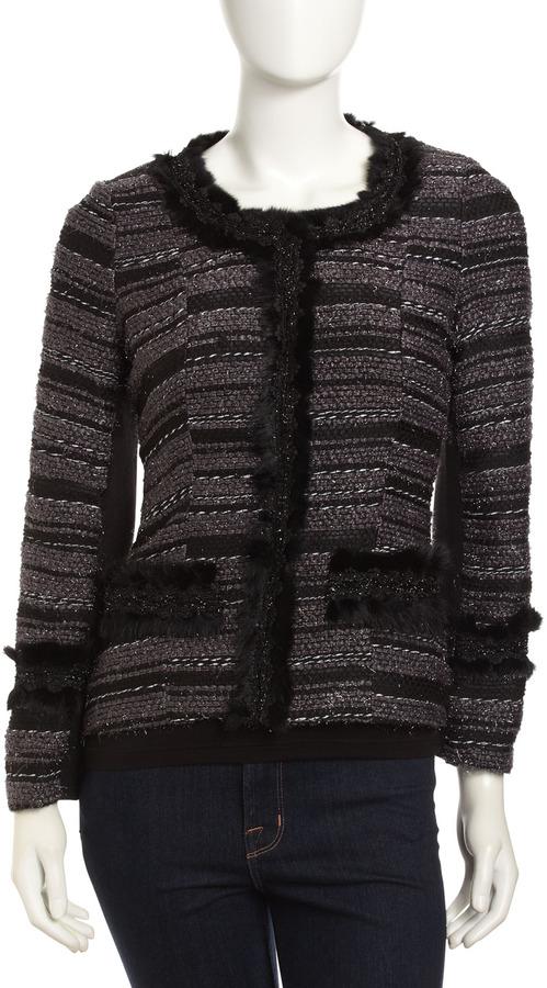 Neiman Marcus Rabbit Fur-Trim Tweed Jacket, Black/Gray