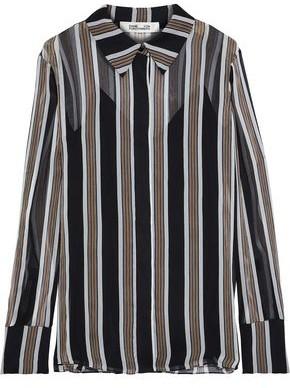 Diane von Furstenberg Striped Silk-georgette Shirt