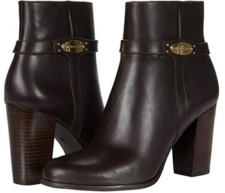 MICHAEL Michael Kors Finley Ankle Boot (Chocolate) Women's Zip Boots