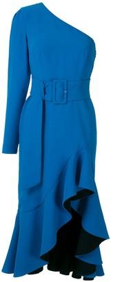 Ruffled Slit Midi Dress