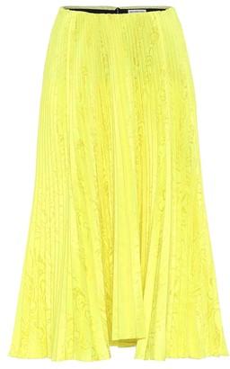 Balenciaga Satin-jacquard pleated midi skirt