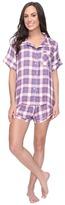 Plush Ultra Soft Short Sleeve Woven Plaid PJ Set Women's Pajama Sets