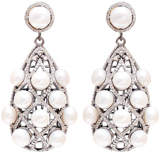 Arthur Marder Fine Jewelry Silver 3.00 Ct. Tw. Diamond & Pearl Earrings