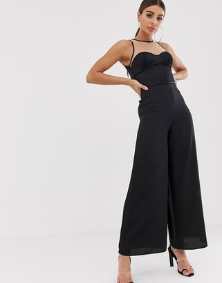 The Girlcode satin top illusion jumpsuit in black