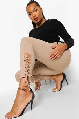 boohoo Plus Stretch Lace Up Hem Skinny Trousers