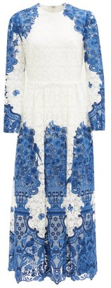 Valentino Delf-print Guipure-lace Cotton-blend Midi Dress - Blue White