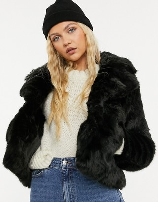 Forever New short faux fur coat in black