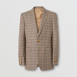Burberry Prince of Wales Check Wool Silk Tailored Jacket