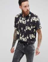 Asos Oversized Viscose Floral Shirt With Revere Collar