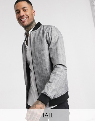 Burton Menswear Big & Tall bomber jacket in grey