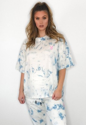 Missguided Playboy X Blue Tie Dye Maternity T Shirt