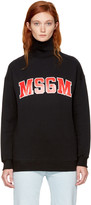 MSGM Black Logo Turtleneck Sweatshirt