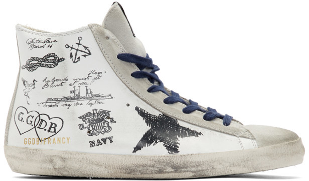 Golden Goose White Leather Message Francy Sneakers