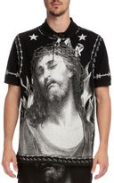 Givenchy Shroud of Turin Graphic Short-Sleeve Polo, Black/White