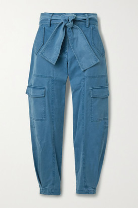 Derek Lam 10 Crosby Elian Cropped Belted Cotton-blend Twill Tapered Cargo Pants - Blue