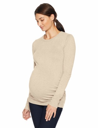 Motherhood Maternity Women's Maternity Long Sleeve Crew Neck Side Ruched Sweater