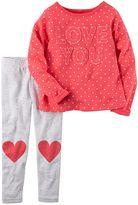 "Carter's Toddler Girl ""Love You"" Polka-Dot Tee & Heart Knee-Patch Striped Leggings Set"