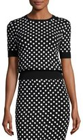 Michael Kors Polka-Dot Short-Sleeve Crewneck Sweater, Black/White