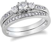 Ice Julie Leah 1/2 CT TW Diamond 14K White Gold 3-Stone Bridal Set