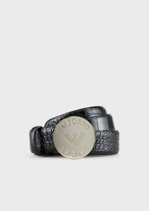 Emporio Armani Croc-Print Belt With Logo Plate