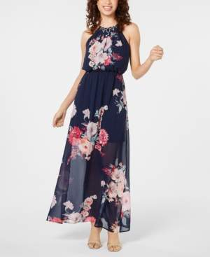 Crystal Doll Juniors' Printed Maxi Dress and Necklace