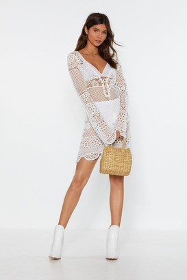 Nasty Gal Womens Crochet It Forward Lace-Up Mini Dress - White - S