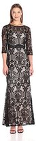 Sangria Women's 3/4 Sleeve Lace Evening Gown