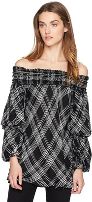 Max Studio Women's Off The Shoulder Flared Sleeve Plaid Blouse