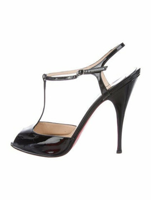 Christian Louboutin Patent Leather T-Strap Sandals Black