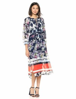 Taylor Dresses Women's Long Sleeve Mixed Floral Print Maxi Dress