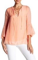 Luma Lace-Up Bell Sleeve Silk Blouse