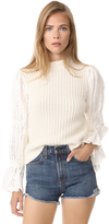Sea Eyelet Sleeve Combo Sweater