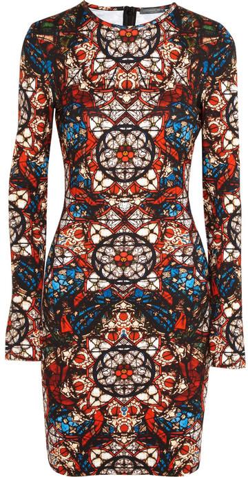 Alexander McQueen Stained glass-print stretch-jersey dress