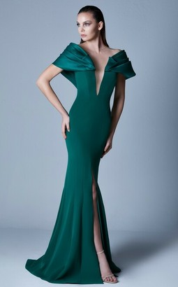 Gaby Charbachy Illusion Neck Gown