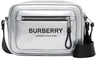 Burberry Logo metallic coated canvas pouch