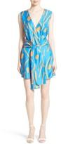 Diane von Furstenberg Women's Tie Front Faux Wrap Silk Dress