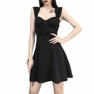 Yeahdor Women's High Waisted Shoulder Strap Ruched Sleeveless Sexy Bodycon Cocktail Party Flared Dress Black S