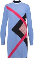 MSGM Lace-Paneled Silk-Crepe Mini Dress